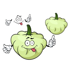 Cartoon pattypan squash vegetable character vector