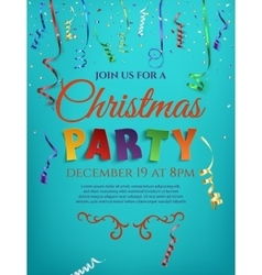 Christmas party poster template with confetti vector