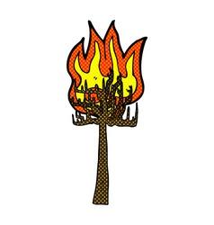 comic cartoon tree on fire vector image