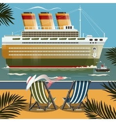 Cruise ship near the shore vector