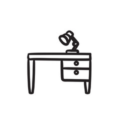 Desk lamp on table sketch icon vector