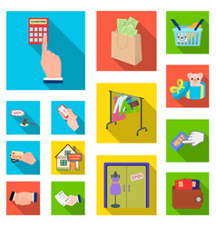 E-commerce and business flat icons in set vector