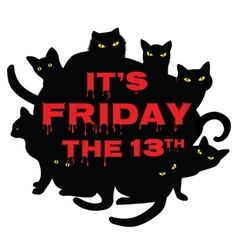 Friday 13 with black cats vector