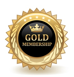 Gold membership badge vector