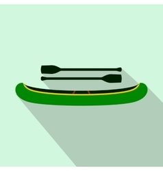 Green kayak with oars icon flat style vector image