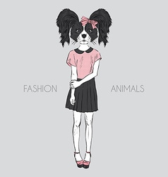 Hand drawn fashion of dressed up doggy hipster vector