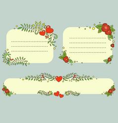 Hand drawn floral romantic frames set vector