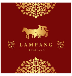 Lampang thailand bodhi tree carriage red backgroun vector