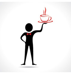Man holding a coffee mug icon vector image