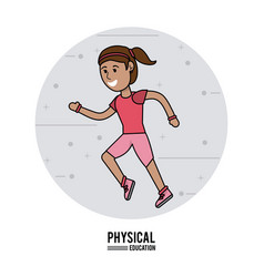 Physical education - girl running sport design vector