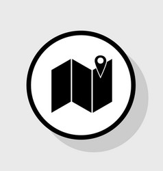 Pin on the map flat black icon in white vector