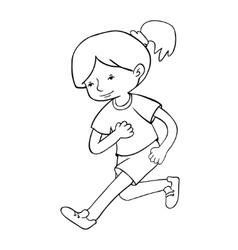 Run girl contour vector image