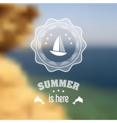 Seaside blurred landscape with summer symbols vector image