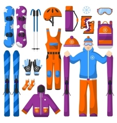 Set of snowboarding equipment icons vector image vector image
