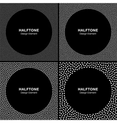 Set of White Dots Frames on Black Background vector image vector image