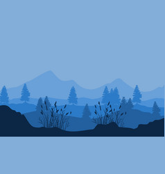 Silhouette of mountain with tree and grass scenery vector
