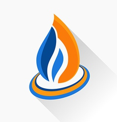 Symbol fire orange and dark blue flame glass icon vector