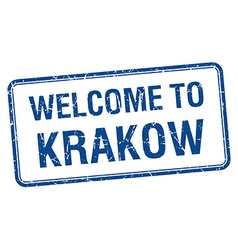 Welcome to krakow blue grunge square stamp vector