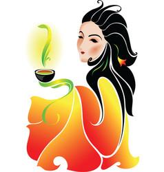 woman drinking tea vector image vector image