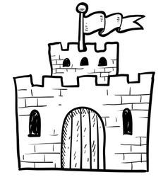 doodle castle vector image