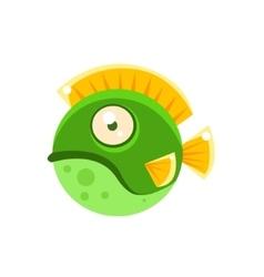 Grumpy green round spotted fantastic aquarium vector