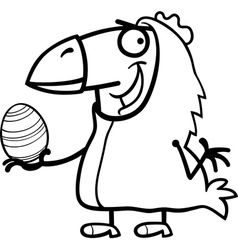 Man as easter chicken cartoon for coloring vector