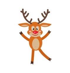 Deer dancing isolated on white reindeer greeting vector