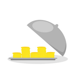 business life hand opens serve cloche with money vector image
