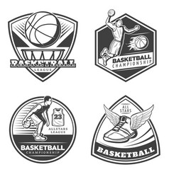 Vintage basketball emblems set vector