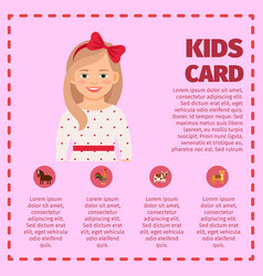 kids card infographic with cute girl vector image