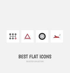 Flat icon service set of tire warning carrying vector