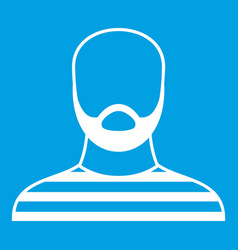 Bearded man in prison garb icon white vector