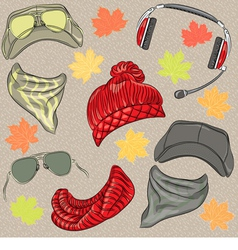 Set hipster autumn hats vector