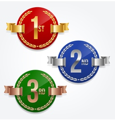 1st 2nd 3rd awards emblems vector image vector image