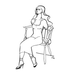 Fashion model on seat vector