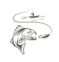 Fisherman in a boat and big mouth bass vector