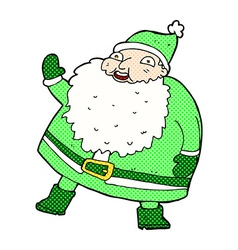 Funny waving santa claus comic cartoon vector