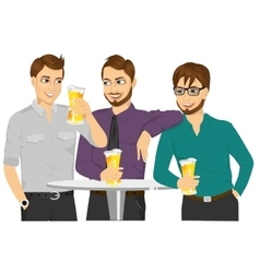Three caucasian friends drinking a beer vector