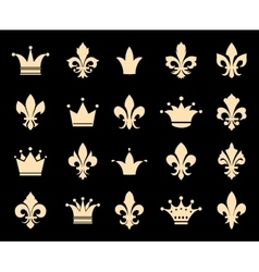 Crown and fleur de lis icons vector