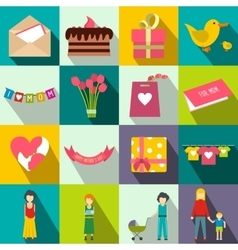 Mother day flat icons vector