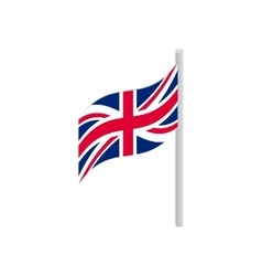 Great britain flag with flagpole icon vector