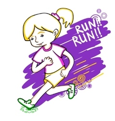Run girl color vector