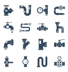 Pipes black white icons set vector
