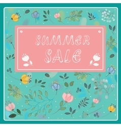 Summer sale vintage floral card vector
