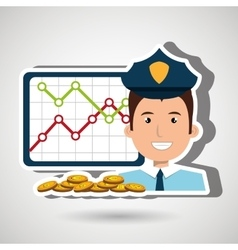 Police with statistics graphic and coins isolated vector