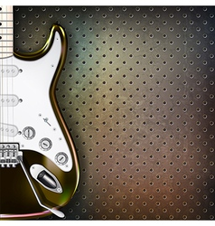 abstract grunge background with electric guitar on vector image