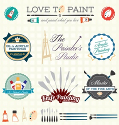 Artist Painter Labels and Icons vector image vector image