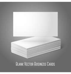 Blank business cards template pile and one flat vector
