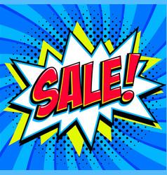 blue sale web banner pop art comic sale discount vector image