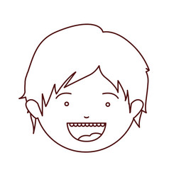 Brown color contour of smiling boy face with short vector